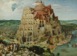 XAM345 Tower of Babel, 1563 (oil on panel) by Bruegel, Pieter the Elder (c.1525-69); 114x155 cm; Kunsthistorisches Museum, Vienna, Austria; (add.info.: for details see 93768-69, 186437-186438); Flemish,  out of copyright.