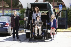 """SPEECHLESS - """"Pilot"""" - Maya DiMeo moves her family to a new, upscale school district when she finds the perfect situation for her eldest son, JJ, who has cerebral palsy. While JJ and daughter Dylan are thrilled with the move, middle son Ray is frustrated by the family's tendencies to constantly move, since he feels his needs are second to JJ Soon, Maya realizes it is not the right situation for JJ and attempts to uproot the family again. But JJ connects with Kenneth, the school's groundskeeper, and asks him to step in as a his caregiver, and Ray manages to convince Maya to give the school another chance, on the series premiere """"Speechless"""" WEDNESDAY, SEPTEMBER 21 (8:30-9:00 p.m. EDT), on the ABC Television Network. (ABC/Nicole Wilder) JOHN ROSS BOWIE, MINNIE DRIVER, MICAH FOWLER, KYLA KENEDY"""