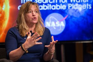"Ellen Stofan, NASA chief scientist, speaks during a panel discussion at the ""Solar System and Beyond: NASA's Search for Water and Habitable Planets"" event on Tuesday, April 7, 2015 at NASA Headquarters in Washington, DC. Panelists discussed the recent discoveries of water and organics in our solar system, the role our sun plays in water-loss in neighboring planets, and our search for habitable worlds among the stars.  Photo Credit: (NASA/Joel Kowsky}"