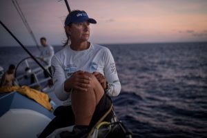 Leg 6 to Auckland, day 16 on board Turn the Tide on Plastic. Skipper Dee Caffari and her team sit in the lead position with only a few more days to go. It will be a close race. 21 February, 2018.