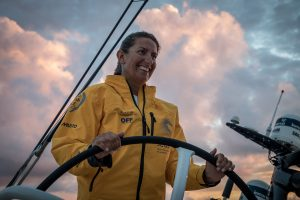 Leg 8 from Itajai to Newport, day 3 on board Turn the Tide on Plastic. 24 April, 2018. Dee Caffari still smiling.