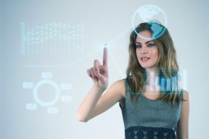 Businesswoman working with modern virtual technologies hands touching the screen
